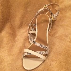 Calvin Klein white snakeskin strappy heel size 8.5